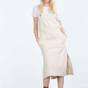 Zara Off White Overall Dress